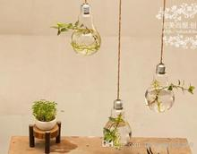 Wholesale - fashion home decor 2PCS glass vase home decoration two hanging bulb vase decorative design flower vase bulb vase