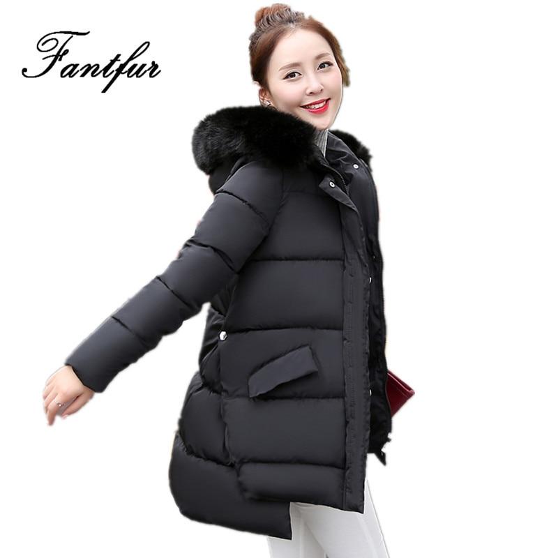 FANTFUR Winter Jacket Women Large Fur Collar Hooded Jacket Thick Coat For Women Outwear Parka Coats casacos de inverno femininoÎäåæäà è àêñåññóàðû<br><br>