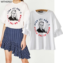 Freeshipping summer women t shirt harajuku 2017 falbala short o-neck cotton Image printing white women t-shirt