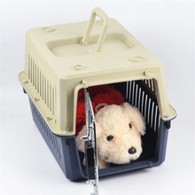 Free Shipping Wholesale Dog Cage Plastic Pet Carrier Pet Airways Box Checked The Cases Out Luggage Transport Cages(China)