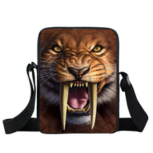 Crazy Tiger Small Crossbody Bags for Kids Animal Print Ladies Clutch bolsos mujer Children School Bags Cute Men Shoulder Bags