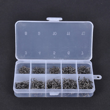 Hot Sale 500pcs/set Carbon Steel Fish Jig Hooks with Hole Fishing Tackle Box Set 3 Carp Fishing Hook carp tackle Fish Swivel(China)