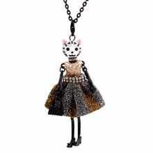 HOCOLE Hot sale Cat Face Doll Necklace French Dress Winter Long Sweater chain Pendant Statement Necklaces Neck Jewelry for Women(China)