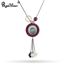 RAVIMOUR Statement Necklaces Women Ball Heart Pendants Fashion Jewelry Ethnic Boho Choker Green Red Fake Stone Long Necklace New(China)