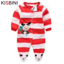 Buy KISBINI Baby Rompers Newborn Baby Clothes Long Sleeve Animal Clothing Polar Fleece Baby Clothes Kid Jumpsuit Christmas Striped for $9.45 in AliExpress store