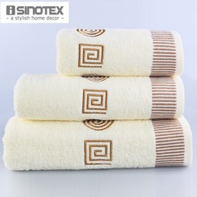 Towel Sets 3pcs/lot Embroidered Cotton Bath Towels toalha Bathroom Wholesale Hand Cloth Facecloth Geometrical Brand Washcloth(China)