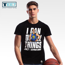 TEE7 Basketball star Stephen Curry Cotton T shirt Golden State Warriors Short sleeve O-neck T-shirts Mens Casual clothes