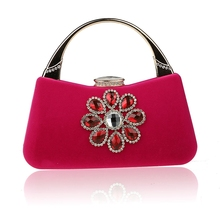 2016 Novelty Hot Pink Chinese Womens Wedding Evening Bag Clutch handbag Mujer Bolso Stylish Bride Party Purse Makeup Bag F988B(China)