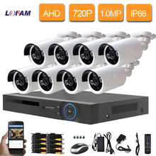 LOFAM CCTV Security System 1080N 8CH WIFI DVR 8PCS metal 720P IR Filter AHD CTV Camera System 8 Channel Video Surveillance Kit