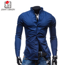 Men Shirt Long Sleeve 2017 Brand Shirts Men Casual Male Slim Fit Collar Solid Chemise Mens Camisas Dress Shirts XXL FTNWNVC