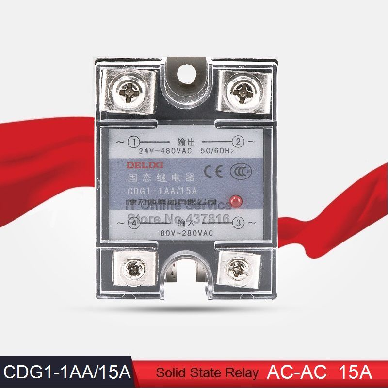 High Quality AC-AC 15A Solid State Relay 15A Single Phase SSR  Input 80-280VAC Output 24-480VAC (CDG1-1AA/15A)<br><br>Aliexpress