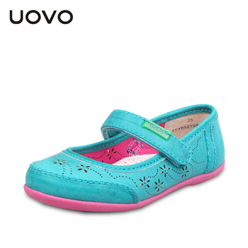 UOVO hollow out flower children shoes girls princess shoes kids girl PU leather shoes girls dress shoes