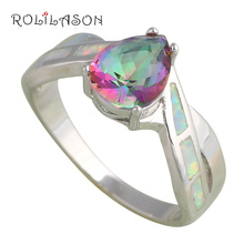 Rainbow Zircon Water Drop design Wholesale & Retail White Fire Opal Silver Stamped Ring USA Sz #6#7#8#9 Fashion Jewelry OR624