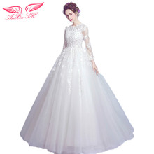 AnXin SH lace flowers wedding dress princess bride long - sleeved neatly bandaged wedding dress new 2118