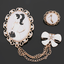 2017 New Arrival Set of 2 Pretty Girl's Bow Drop and Heel Enamels Chain Brooches