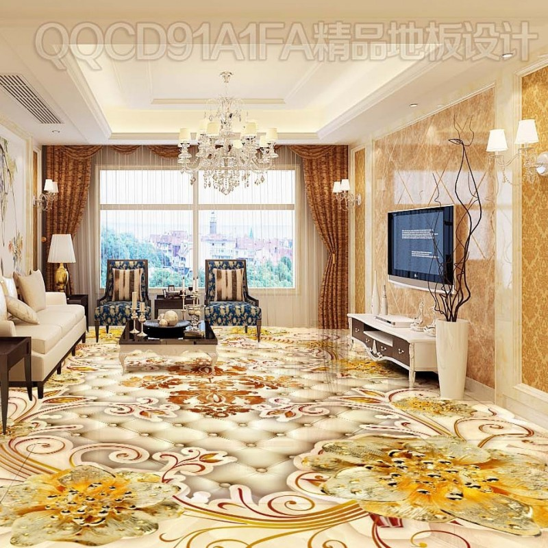 Free Shipping HD classic noble gold pattern rose 3D floor non-slip high-quality self-adhesive bathroom wallpaper mural<br>