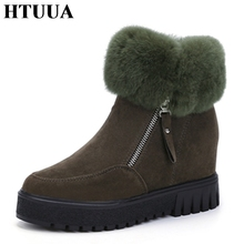 HTUUA 2017 New Ankle Boots for Women Plush Warm Winter Boots Faux Fur Wedge Snow Boots Thick Platform Shoes Woman Booties SX530(China)