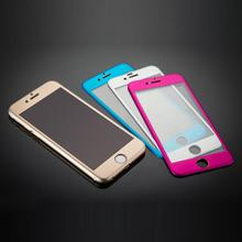 Hot selling 3D Edge 5 colors Metal Full Coverage Tempered Glass Screen Film For iPhone 6 4.7'' free shipping nice(China)
