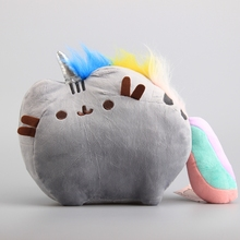 "New Pusheen Cat With Colorful Tail Stuffed Animals Cute Plush Toy Dolls Kawaii Brinquedos  10"" 25 CM Children Gift"