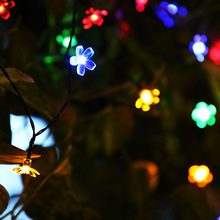 30 50 80 LEDs Cherry Peach Blossom Flower LED Solar Fairy String Light 5M 7M 10M Outdoor Party Christmas New Year Birthday Decor(China)