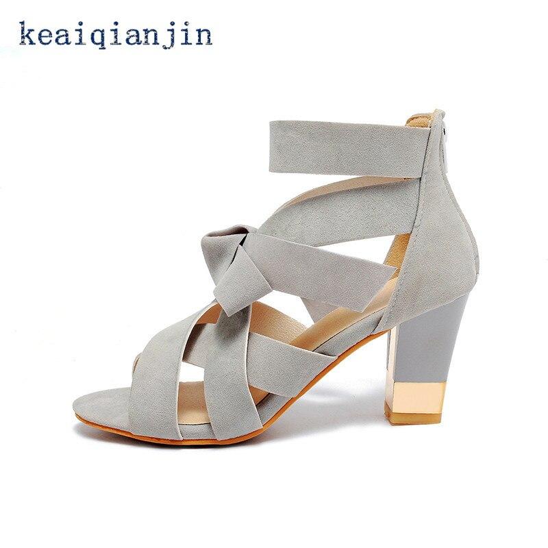 Rome Ankle-Wrap Bowtie Party Sandals Metal Decoration Square Heel large Size 33cm-43cm Pumps Fretwork Black Gray Light Pink 2016<br><br>Aliexpress