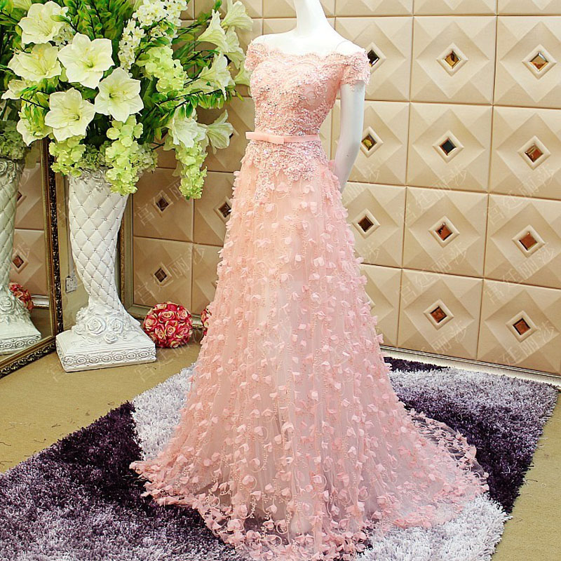 Real Photos Pink Beauty Princess Long Prom Dresses Floral Colorful 2019 Applique Beaded Formal Prom Party Gowns Vestido De Festa