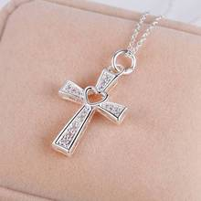 Silver Jewelry Fashion Cross Necklace Hollow Heart For Women Men AN167(China)