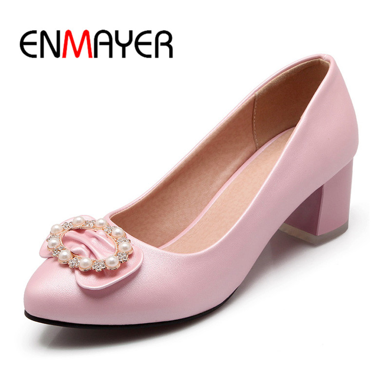 ENMAYER 2017 Slip-on Shallow Pumps Crystal Shoes Woman High Heels Pointed Toe Spring&amp;Antumn Plus Size 34-43 Casual Dress Shoes<br>