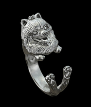 wholesale retro punk Pomeranian Ring free size cute hippie animal  Pomeranian dog Ring jewelry for pet lovers 12pcs/lot
