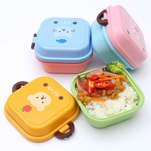 2016 Plastic Food Storage Box Bag For Kids 2 Layer Picnic Box Food Container Kitchen Tools Lovely Bento Box Lunch Supplies
