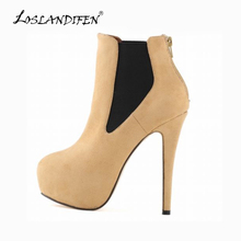 LOSLANDIFEN Women Winter Platform Chelsea Boots Velvet Ankle Boots Ladies Extremely High Heels Shoes Casual Party Shoes 819-5VE(China)