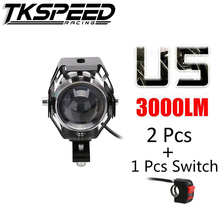 1PCS 125W Motorcycle Motorbike Headlight 3000LM U/L with switch Beam&Flash CREE LED Chips U5 Driving Fog Spot Head Light Lamp(China)