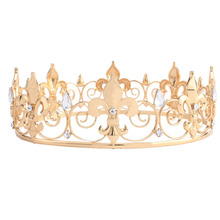 Adult Royal Crown King / Queen Full Crowns Iris flower Design Baroque Vintage Tiaras Gold Color Hair Jewelry HG00202
