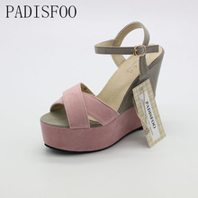 POADISFOO 2017 Classic women high quality sandals for lady sexy fish head platform sandals thick heels shoes for lady .XL-07