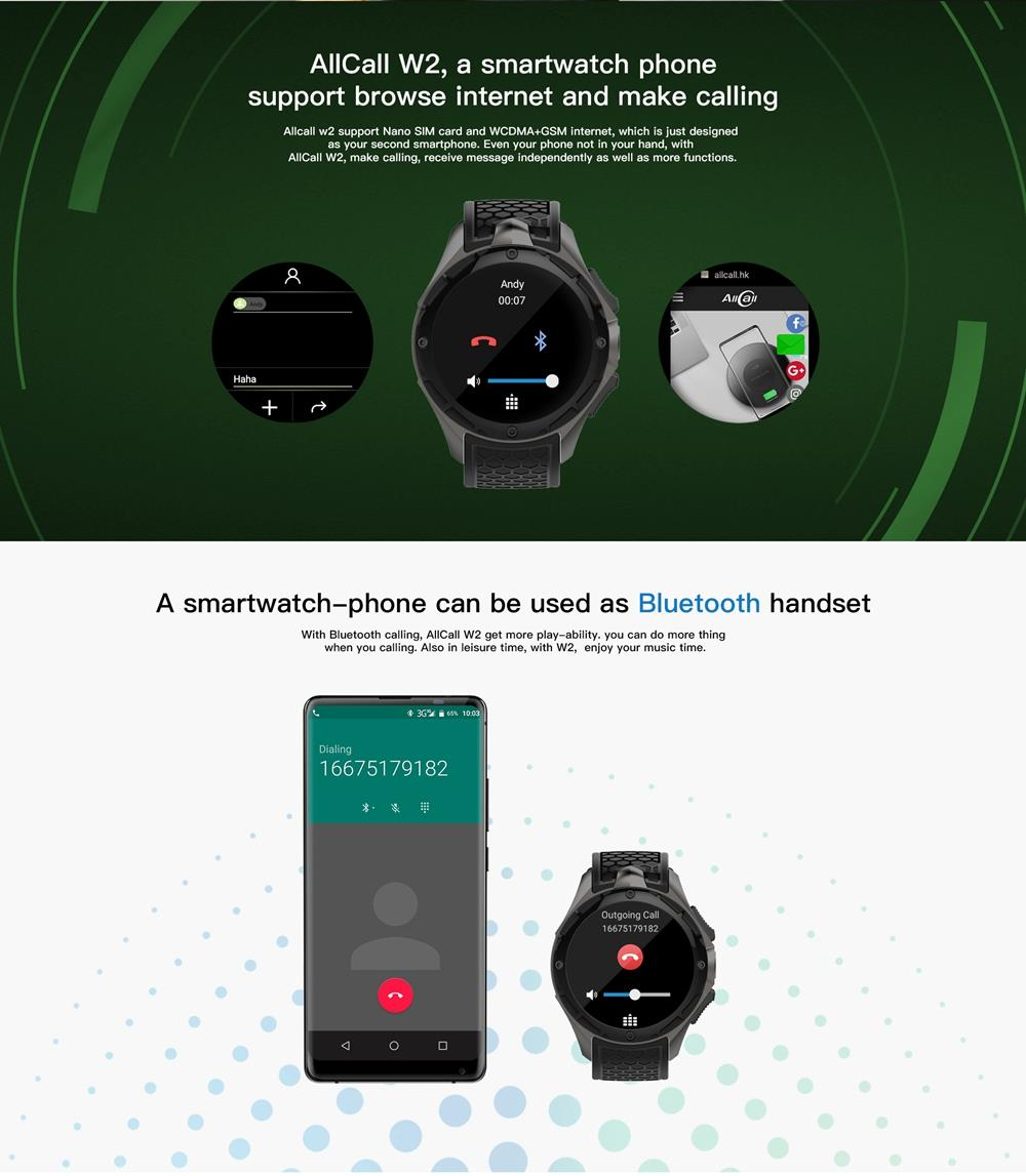 ALLCALL W2 Smartwatch Phone Android IP68 waterproof Smart watch MTK6580 Quad Core GPS Bluetooth clock with pedometer 307391 22