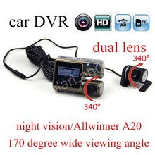 hot sale HD Dual Lens Car DVR I1000 Video Recorders 170 degree wide viewing angle lens Camcorder  night vision with rear camera