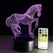3D Lamp Horse LED Illusion Animal Desk Table Night Light,7 Color Touch Lamp,3D LED Creative Visual Light(China)