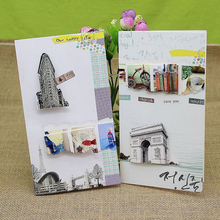 (8 pieces/lot)Factory Directly Sale Eiffel Tower/Leaning Tower of Pisa Elegant Greeting Cards Birthday Gift Card Thank You Card