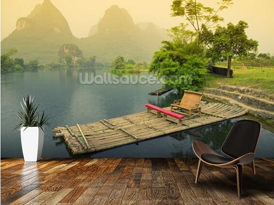 Custom photo wallpaper, Bamboo Raft, Yangshou,3D wallpaper mural forliving room bedroom restaurant wall waterproof PVC wallpaper<br><br>Aliexpress