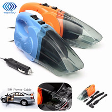 Portable 12V 120W Car Vacuum Cleaner Wet And Dry Dual Use Auto Cigarette Lighter Hepa Filter Orange Blue With 16FT Cord 5 Meter(China)