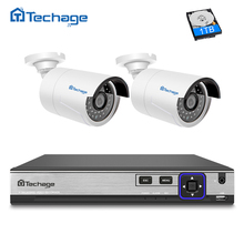 Techage 4CH 48V POE NVR H.265 CCTV System 2PCS 4MP 2592*1520 IP Camera IR Night Vision Outdoor Video Security Surveillance Kit(China)