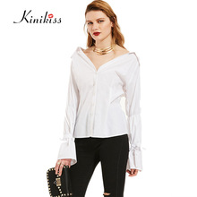 KinikissWomen white Blouse Tops Elegant Autumn Clothing Casual puff Sleeve long sleeve Cotton Fabric High Quality Blouse(China)