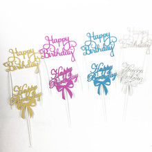 4pcs/lot Gold Silver Happy Birthday Party Cake Toppers Decoration for kids birthday party favors Baby Shower Decoration Supplies
