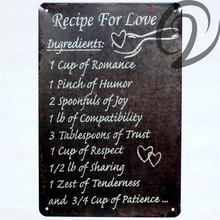Recipe For Love Life Mottos Tin Signs Bar Pub Cafe Home Wall Decoration 20*30 cm Vintage Home Decor Metal Plaques(China)