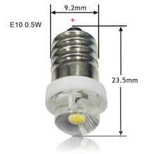 E10 0.5W 1W LED For Focus Flashlight Replacement Bulb Torches Work Light Lamp 60-100Lumen Pure White DC3V 4.5V 6V(China)