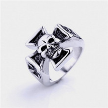Tiger Totem free shipping quality Individuality Fashion wholesale cross skeleton head ring Titanium steel sell well accessories(China)