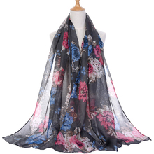 Wholesale foulard plant print scarf shawl for women from india scarves winter pashmina cotton voile scarf luxury brand 2018 new(China)