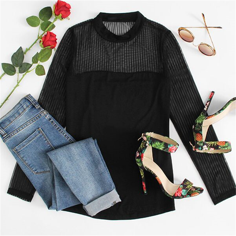 COLROVIE Mock Neck Vertical Mesh Blouse Women Semi Sheer Patchwork Sexy Tops Fall 2017 Fashion Black Basic Elegant Slim Blouse 15