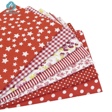 7pcs Red 100% Cotton Patchwork Fabric for DIY Sewing Quilting Tissue Kids Bedding Textiles Tilda Doll Cloth Fabric 50*50cm(China)