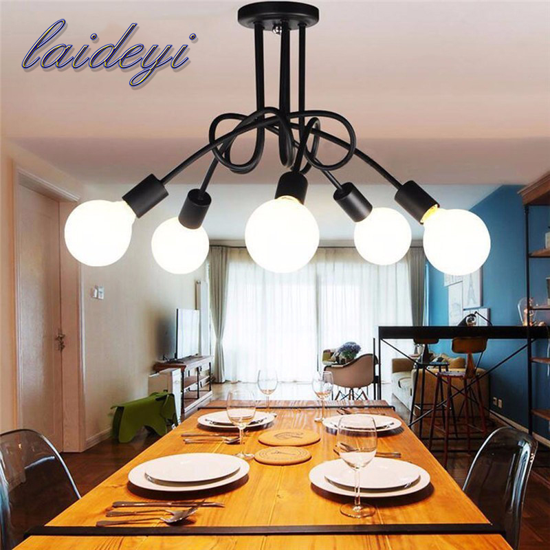 1PCS 5 heads American Style Pendant Lights E27 Iron handelier Modern Pendant Hanging Lamp For Dinning Room Bedroom Fixtures<br>